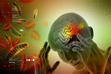 Man head showing the human brain with headache