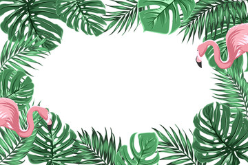 Tropical exotic border frame template with bright green jungle palm tree monstera leaves and pink flamingo birds couple. Horizontal landscape orientation. Place for text in the middle.