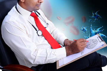 doctor drawing the sketch of brain and analysing decease