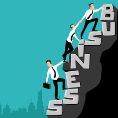 Business people go to the top of success.