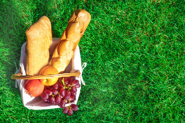 Picnic hamper with bread and fruit on green lawn