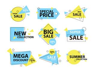 Trendy modern geometric sale badge and labels set. Vector illustration