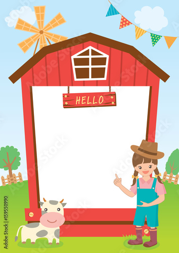Illustration vector of little countryside girl presenting with barn ...