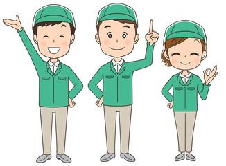作業着の男女グループ