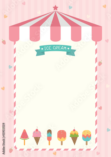 ice cream cone and bar various flavors design with pink shop
