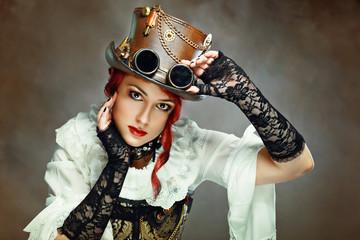 Girl Wearing Steampunk Hat