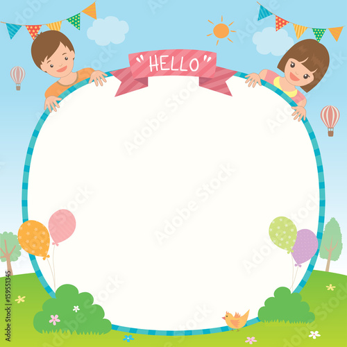 Party Invitation Template Design With Cute Kids Boy And Girl On Park