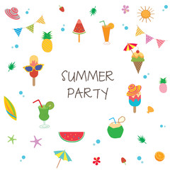 Summer party with ice cream and fruit symbol design to cute pattern.