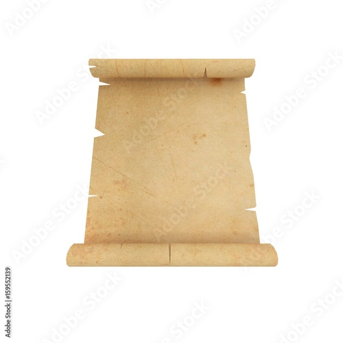 3D rendering of paper scroll isolated on white background