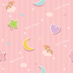 Cute seamless pattern design decorated with cloud, star,moon,heart shape and sleeping bear for baby bedroom wallpaper.