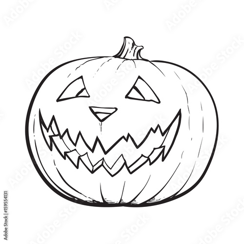 Quot black and white jack o lantern ripe pumpkin with carved