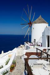 Windmill in Oia village on Santorini, Greece