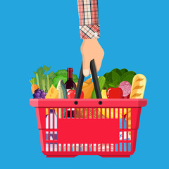 shopping basket full of groceries products