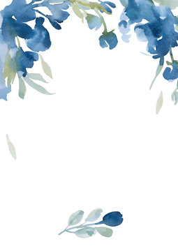 watercolor blue flowers with gray grass on white background for greetings card
