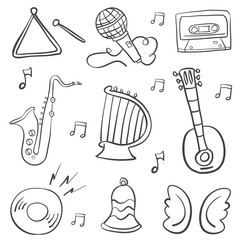 Hand draw musical instrument doodles