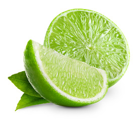 limes with leaf isolated