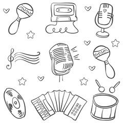 Vector art music object various doodles