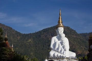 White buddha statue in Thai temple