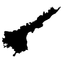 Andhra Pradesh black map on white background vector