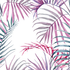 Watercolor vector tropical floral pattern
