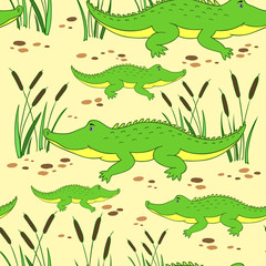 Cute cartoon little crocodile in reed isolated on yellow background, Vector doodle Illustration alligator, wild animal, Seamless pattern, texture design for baby shower, greeting card, children invite