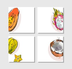 Hand drawn vector abstract artistic freehand textured unusual cards set collection template with exotic tropical fruits papaya,dragon fruit,coconut and carambola isolated on white background.