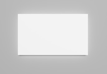 Wall Murals Dark grey White flat 3d rendering blank banner paper sheet mockup on light grey background. Flayer, poster template for your design.