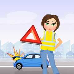 Girl accident with car
