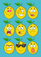 Yellow Lemon Fruit Cartoon Emoji Face Character Set 1. Collection With Blue Background