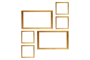 Brown wooden photo frame isolated white background.