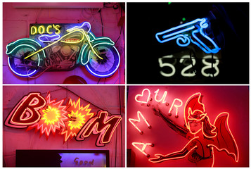 A combination picture showing some of the neon signs and lights in God's Own Junkyard gallery cafe and workshop in London