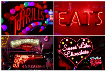 A combination picture showing some of the neon signs exhibited in God's Own Junkyard gallery cafe and workshop in London