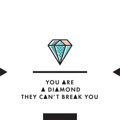 You are a diamond trendy vector postcard