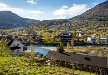 Panorama of Stryn town