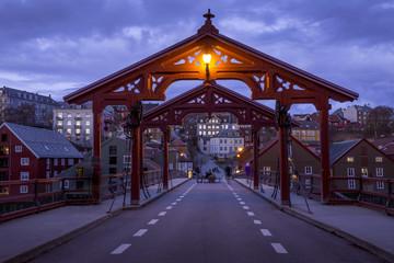 Old wooden bridge - Gamle Bybro in Trondheim, Norway