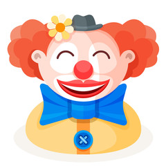 Colorful cartoon happy cute redhead clown character in funny small hat with flower, big bow and red nose. Vector illustration.