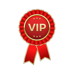 "Red and gold ""Vip"" award rosette with ribbon"