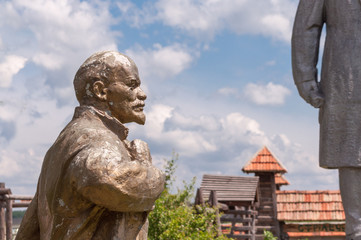 Kremenivka, Ukraine - May 21, 2017: The monument to Vladimir Lenin, the Soviet leader. Stone statue with a view to the sky. Decommunization.