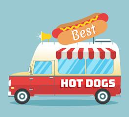 Vector hot dogs truck