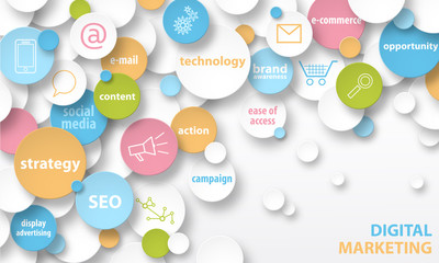 DIGITAL MARKETING key terms and icons banner