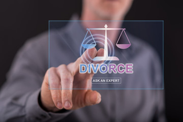 Man touching an online divorce advice website on a touch screen