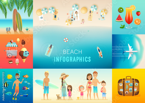 Wall mural Beach set with concepts of snorkeling, surfing, travel and others.