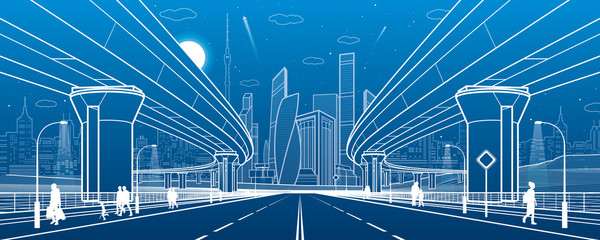 Road overpass. Big highway. Transport bridge. Urban infrastructure, modern city on background, industrial architecture. People go. Towers and skyscrapers. White lines illustration, vector design art