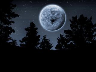 Surreal Moon Night - Abstract Illustration