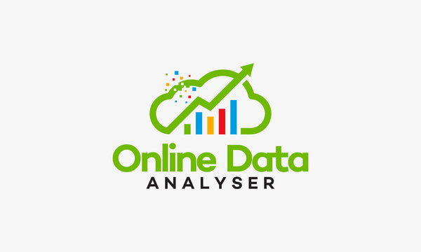 Online data analyser logo vector illustration, Online Financial logo template