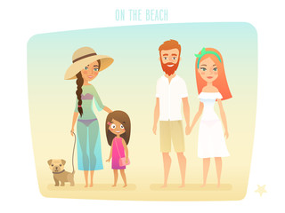 Wall Mural - People on the beach, family, surfer, friends, couple and kids.