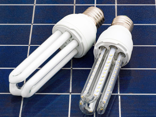 LED and CFL bulbs set on a solar panel