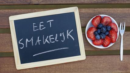 Aluminium Prints Grocery Bon appetit written in Dutch