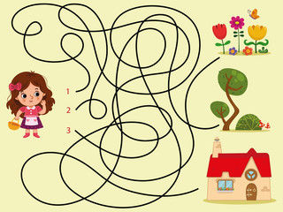 Can you help the girl to find her house? (Vector Kids Puzzle)