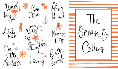 The Ocean is Calling. Good for kid's or baby's wall art, fashion tee shirt prints and greeting cards.